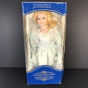 Genuine bisque porcelain doll handcrafted
